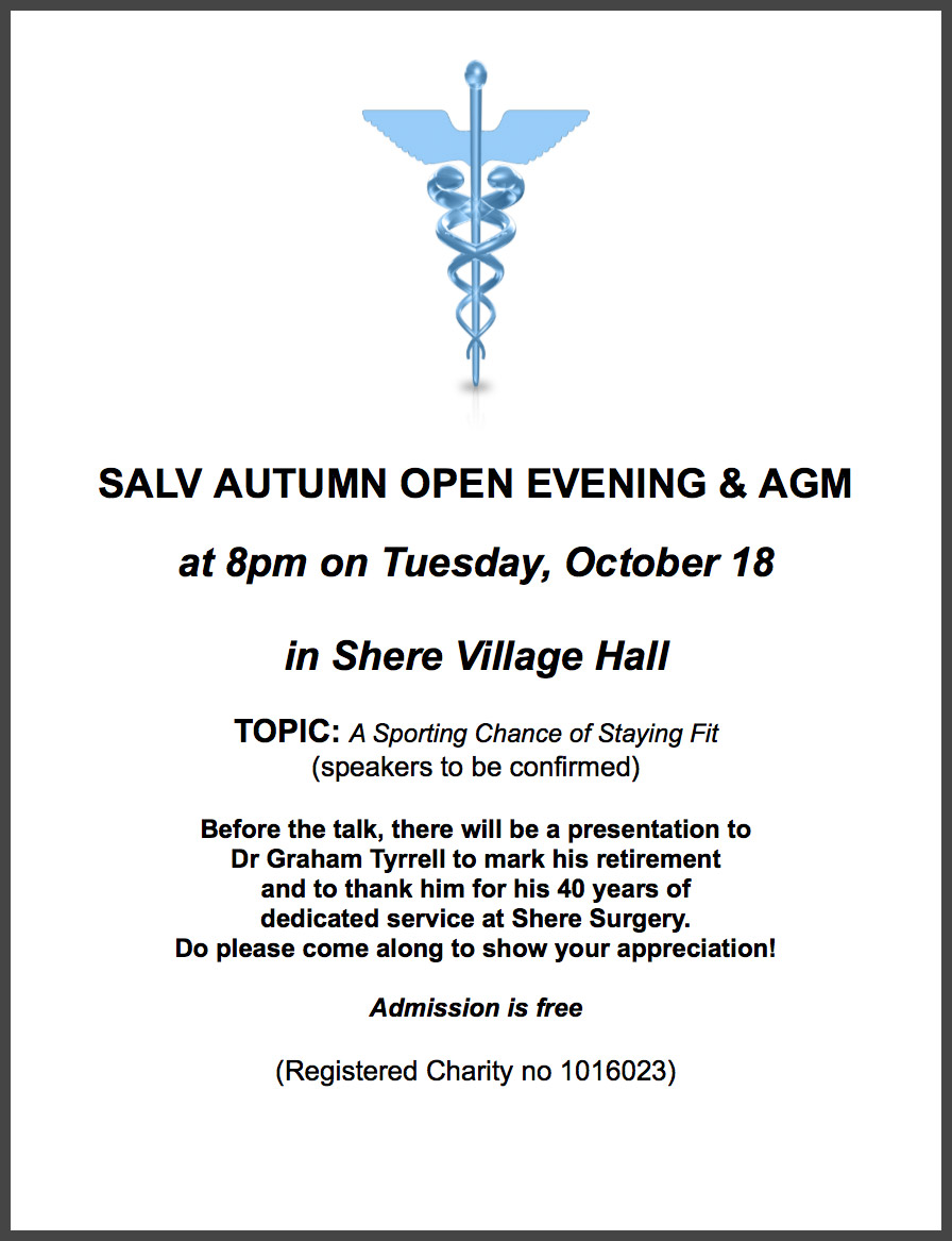 salv shere and local villages health trust open evenings 19th 2016 shere village hall drink and diet sound advice or nanny state view 18th 2016 shere village hall a sporting chance of